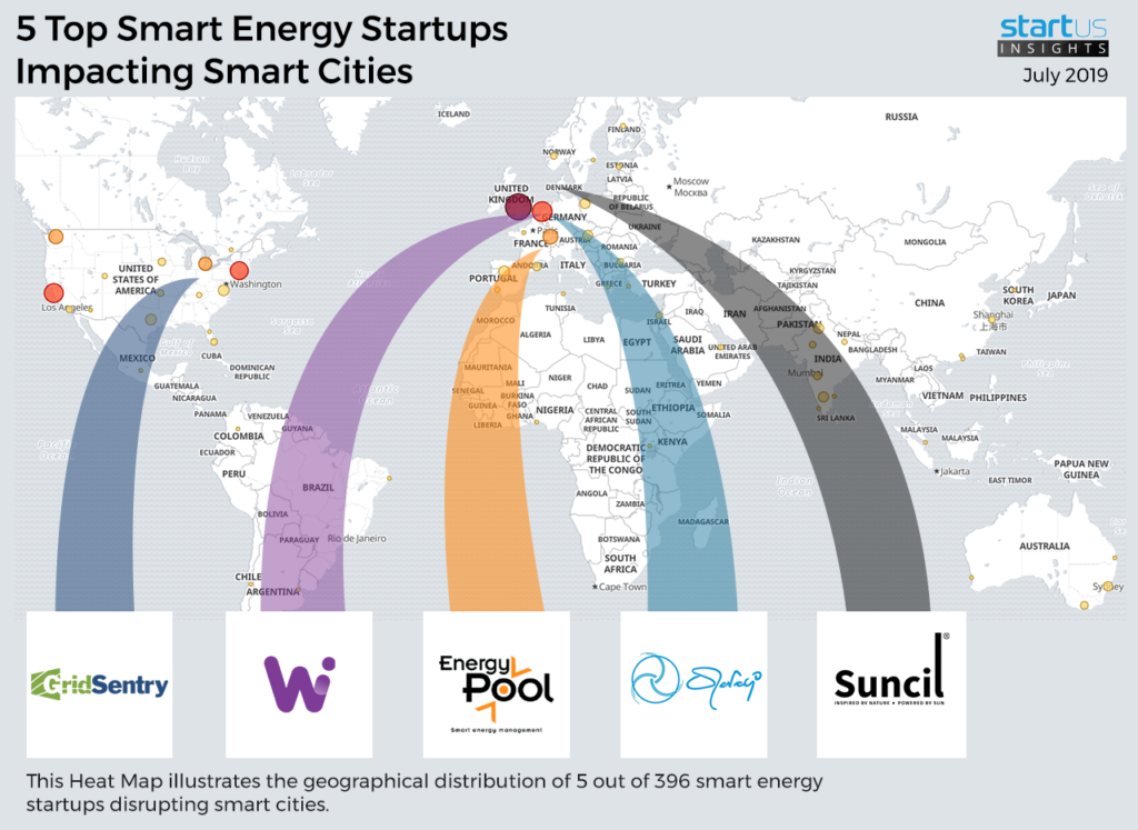 World map showing the 5 Top Smart Energy Startups picked by startus insights