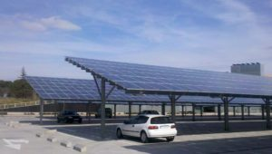 Supermarket parking solar panel electric car charging vehicle-to-grid